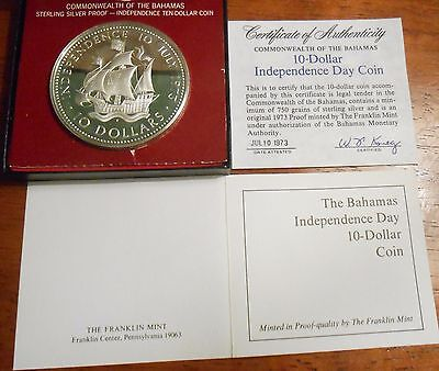 1973 Commonwealth Of The Bahamas 10 Dollar Independence Day Silver Proof Coin