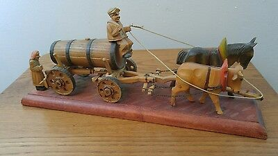 Vintage German Folk Art Wood Carved Beer Wagon Horse Ox Figures