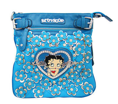 Betty Boop Blue Leather Ladies Hip Bag Cross Body Purse with Crystal Rhinestones