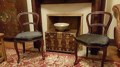 Pair Victorian Rococo Balloon Back Side Chairs, ca 1880