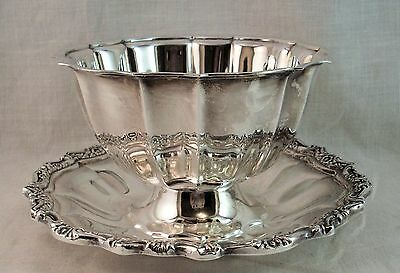 Silverplate Condiment Serving Bowl w attached Underplate by International Silver
