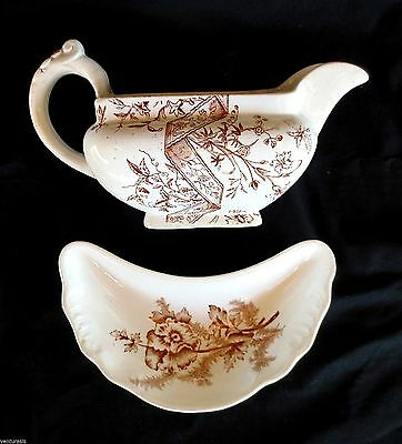 Brown Transferware - 2 pieces - Gravy Sauce Boat - & - Harker Pottery Bone Dish