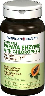 Papaya Enzyme With Chlorophyl, American Health, 100 chewable tablets