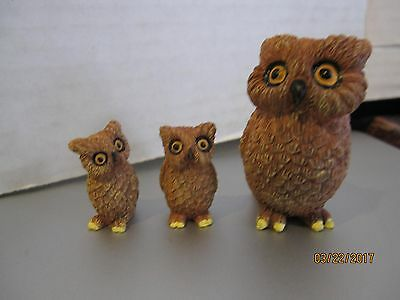 Set of 3 Small brown owls