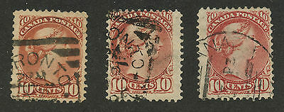 Canada 1897 Small Queen 10c brown red, dull rose, pink #45, 45a, 45b used