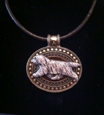 Bearded Collie Dog Brass Medallion on leather cord~necklace~2 tone! Beardie
