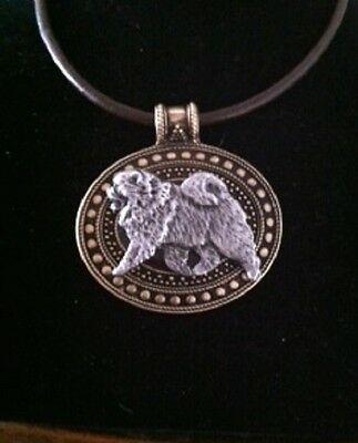 Chow Chow Dog Brass Medallion on leather cord~necklace