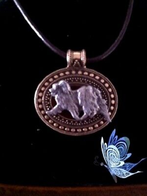 Papillon   Dog Brass Medallion on leather cord~