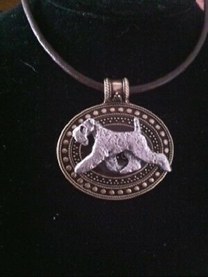 Kerry Blue Terrier Dog Brass Medallion~ leather cord~necklace~dog lovers