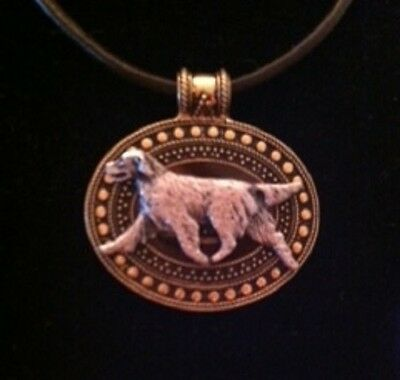 Flatcoated Retriever  Dog Brass Medallion on leather cord~necklace Flatcoat