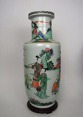 A Famille Verte Rouleau Vase, with Kangxi Mark