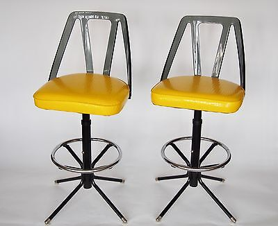 Pair 1970s Lucite Swivel Bar Stools Yellow Faux Reptile Fabric