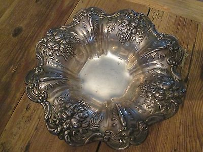 "REED & BARTON FRANCIS I Footed Bowl - X569F 8"" STERLING! Grapes & Fruit"