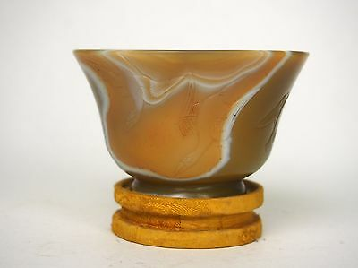 An Agate Carving 'Goose' Cup with Embroidered Stand, 19th Century