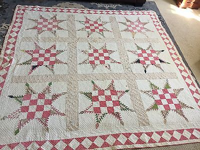 "Antique Handmade Hand stitched Quilt 75""X 76"" Patchwork Star Quilt Crafting"