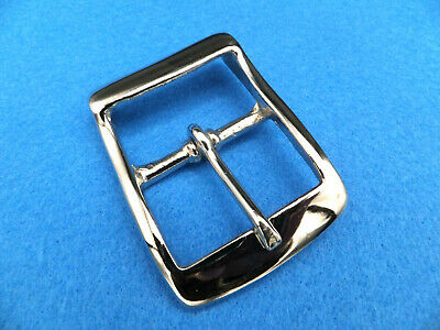 "NICKEL Plated Brass Full Belt Buckle Raised Back Bar 1.5"" [39 mm] Leather craft"