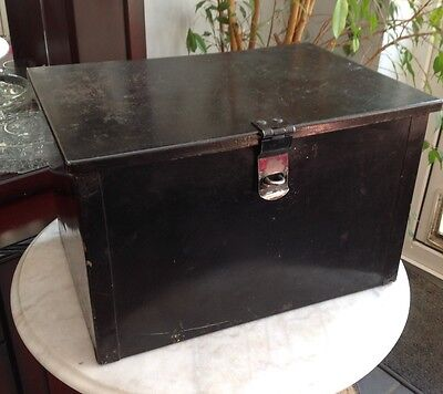 Large Vintage Metal Deed Box Storage Tin Chest 46X33X28CM