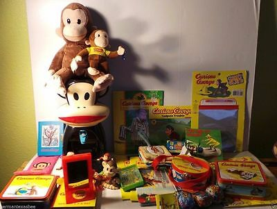 Huge lot of CURIOUS GEORGE toys drink dispenser plush stuffed books tin boxes