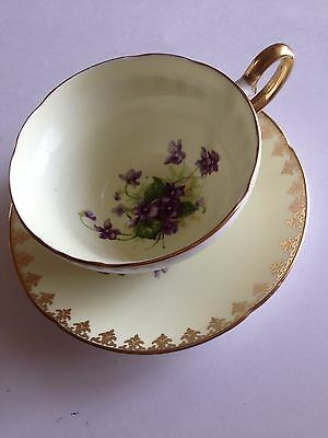 Spencer Stevens  Tea Cup and Saucer Set  Yellow/White/Purple Violets
