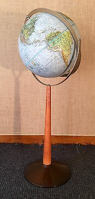 Replogle Vintage 1960's Land & Sea Globe on Stand Mid Century Modern