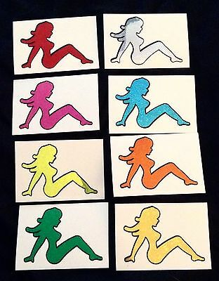 Vintage LOT 8 Sexy Silhouette Mudflap Girl Prism Glitter Vending Sticker Decals!