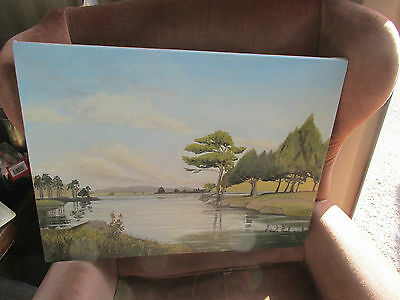 Oil Painting Of A Lake Scene Signed