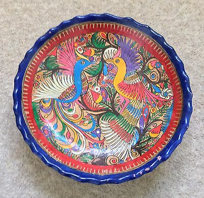 Vintage Mexican folk art bowl with colourful bird painting - Acapulco
