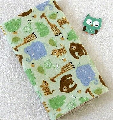Handcrafted, Flannel, Green Animal  Print & White Bubble Minky, Baby Burp Cloth