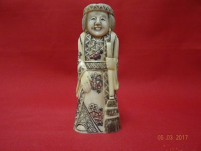 Superb Carved Oriental Netsuke Woman with Broom