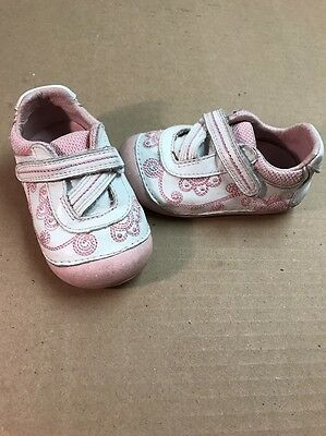 Stride Rite FARROW White & Pink Soft Bottom Toddler Girls' Shoes Size 4.5W