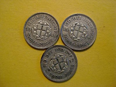 (3) Great Britain 3 Pence 1937 - 1941 - 1940  SILVER