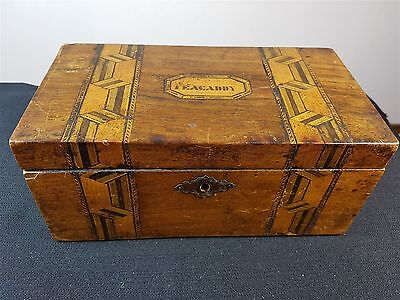 Antique Tea Caddy Box Inlaid Tunbridge Marquetry Wood Wooden Vintage