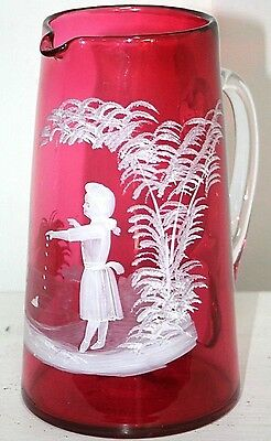 Stunning X-Large Antique Mary Gregory Victorian Cranberry Glass Water Pitcher.