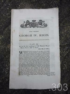 Original Antique 1826 Act of Parliament Royal Marines Forces Ephemera, George IV