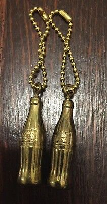 Vintage Brass Coke Coca Cola Bottle Key Chain Nos