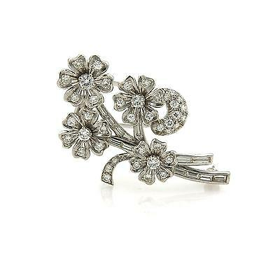 Estate Diamond & Platinum Spinning Floral Spring Brooch Pin