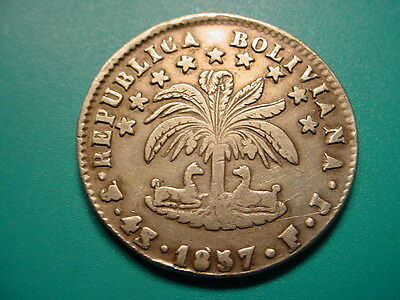 Bolivia~Silver 1857 4-Soles in Excellent Condition!