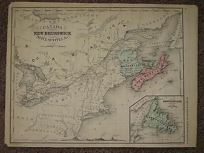 1866 CANADA ANTIQUE MAP McNally Atlas CIVIL WAR ERA HAND COLORED