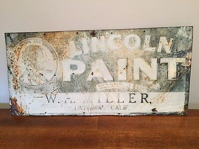 Vintage Lincoln Paint Sign. Embossed Early 1900's