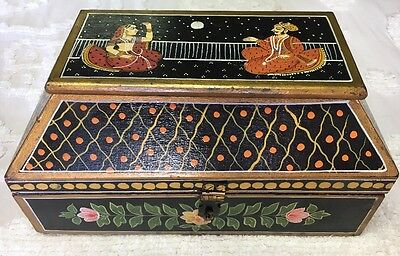 Vintage Antique Mughal Indian Hand Painted Jewelry Box Lovers Couple