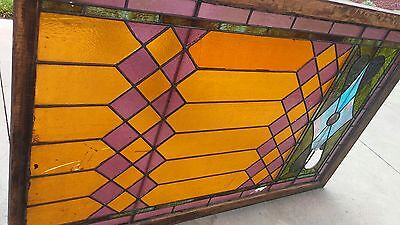"Vintage Stained Glass Window for Repair Repurpose 66""H x 42 ""W"