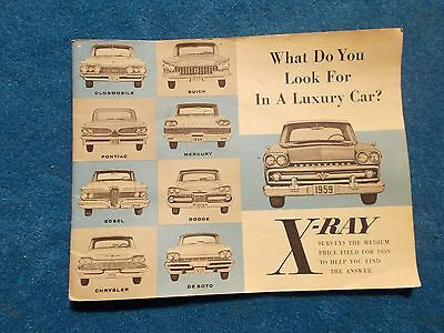 1959 Rambler X-Ray Dealer Sales Borchure Compares to other Cars Ford Chevy Dodge