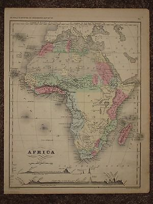1866 AFRICA ANTIQUE MAP McNally Atlas CIVIL WAR Era ORIGINAL!