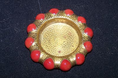 1930's Vitro Agate Brass Fisher Jewel Tray with Red Marbles
