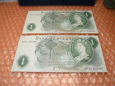 Bank of England £1 One Pound Banknote Signed by Page 2 Consecutive Banknotes UNC