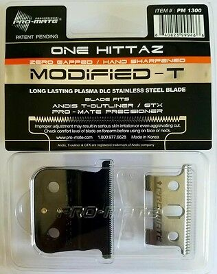 Pro-Mate 1-Hittaz Deep Tooth Modified 0-Gap Blade Fits Andis T-Outliner,GTX,BLK.