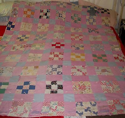 VTG Purple 9 Patch/Crazy Hand Sewn/Stitched feedsack CUTTER/Crafts Quilt!