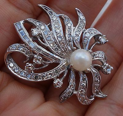 "Large diamond pearl platinum antique vintage Pin Brooch 1.3"" by 1"""