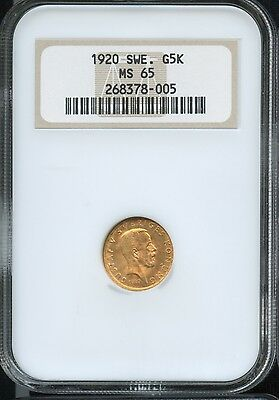 1920 Sweden 5 Kronor Gold Coin NGC Certified MS65, 103,000 Mintage!