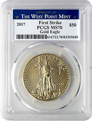 2017 $50 Gold Eagle PCGS MS70 First Strike - West Point Label